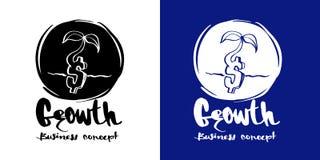Ręka rysujący kaligrafii Growh logo lub ikona biznesowy pojęcie, łotysz Zdjęcia Stock