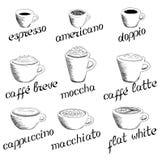 Ręka rysujący kawowy set Ilustracji
