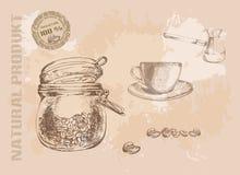 Ręka rysujący kawowy set Zdjęcie Stock