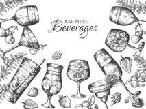 Ręka rysujący koktajlu tło Alkoholicznych napojów i lemoniad nakreślenia rama Wektorowy lata zimna bar pije menu ilustracji