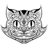 Ręka rysujący konturu doodle kota głowy zentangle Obrazy Royalty Free