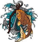 Ręka rysujący konturu Koi wody i ryba pluśnięcia Japoński tatuaż ilustracja wektor