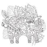 Ręka rysujący konturu słonia cyrkowy doodle Fotografia Stock