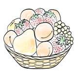 Ręka rysujący kosz z owoc Obrazy Royalty Free