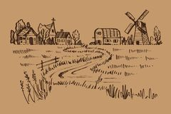 Ręka rysujący krajobraz kraj, ilustracyjny doodle styl Obraz Stock
