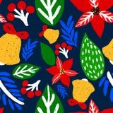Ręka rysujący kwiecisty bezszwowy wektoru wzór Zimy i spadku o temacie tło Bezszwowa tekstura z Bożenarodzeniowymi kwiatami royalty ilustracja