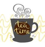 Ręka rysujący listowy czas dla herbaty Zdjęcia Stock
