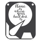 Ręka rysujący literowanie zwrota dom jest dokąd twój dysk twardy odizolowywa na białym tle z ikoną dysk twardy Fotografia Royalty Free