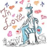 Ręka rysujący mężczyzna z kwiatem w miłości Fotografia Royalty Free