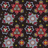 Ręka rysujący mandala bezszwowy wzór od kwiecistego doodle Kurenda barwiący wzór dla dekoraci Obraz Stock