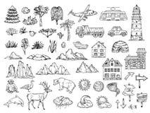 Ręka rysujący mapa elementy Kreśli górę, drzewo, krzak, budynki i chmury wzgórza, Rocznika rytownictwa wektorowi symbole dla ilustracja wektor