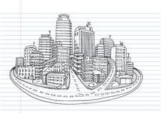 Ręka rysujący miasta nakreślenie dla twój projekta, Rysujący Fotografia Stock