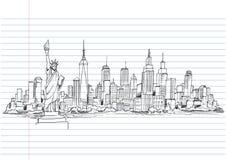 Ręka rysujący miasta nakreślenie dla twój projekta, Rysujący w czarnym atramencie Zdjęcie Stock