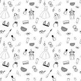 Ręka rysujący moda bezszwowy wzór dla dorosłych kolorystyk stron royalty ilustracja