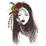 Ręka rysujący moda portret dziewczyna z prostym włosy Ilustracji