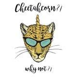 Ręka Rysujący moda portret gepard z rogiem royalty ilustracja