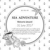 Ręka rysujący morski seashell również zwrócić corel ilustracji wektora Fotografia Royalty Free