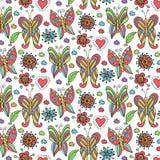 Ręka rysujący motyla i kwiatu wzór Zdjęcia Stock