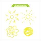 Ręka rysujący nafciany pastelowy słońce set ilustracja wektor