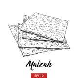 Ręka rysujący nakreślenie Żydowski Passover matzah w czerni odizolowywającym na białym tle Szczegółowy rocznik akwaforty stylu ry royalty ilustracja