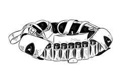Ręka rysujący nakreślenie bandolier w czerni odizolowywającym na białym tle Szczegółowy rocznik akwaforty stylu rysunek ilustracji