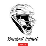 Ręka rysujący nakreślenie baseballa hełm w czerni odizolowywającym na białym tle Szczegółowy rocznik akwaforty stylu rysunek ilustracji