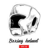 Ręka rysujący nakreślenie bokserski hełm w czerni odizolowywającym na białym tle Szczegółowy rocznik akwaforty stylu rysunek royalty ilustracja