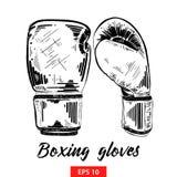 Ręka rysujący nakreślenie bokserskie rękawiczki w czerni odizolowywającym na białym tle Szczegółowy rocznik akwaforty stylu rysun ilustracji