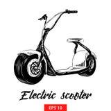 Ręka rysujący nakreślenie elektryczna hulajnoga w czerni odizolowywającym na białym tle Szczegółowy rocznik akwaforty stylu rysun ilustracja wektor