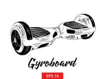 Ręka rysujący nakreślenie gyroboard w czerni odizolowywającym na białym tle Szczegółowy rocznik akwaforty stylu rysunek royalty ilustracja