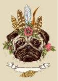 Ręka rysujący nakreślenie ilustraci pies ilustracja wektor