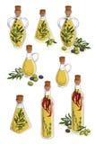 Ręka rysujący nakreślenie - kolekcja oliwa z oliwek butelki z gałązkami oliwnymi i oliwnymi jagodami Zdjęcia Royalty Free