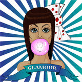 Ręka rysujący nakreślenie Kolorowego portreta wspaniała brązowowłosa dziewczyna ilustracji