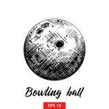 Ręka rysujący nakreślenie kręgle piłka w czerni odizolowywającym na białym tle Szczegółowy rocznik akwaforty stylu rysunek ilustracji