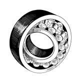 Ręka rysujący nakreślenie metalu peleng w czerni odizolowywającym na białym tle Szczegółowy rocznik akwaforty stylu rysunek ilustracji