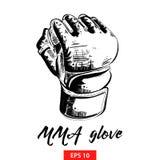 Ręka rysujący nakreślenie mma rękawiczka w czerni odizolowywającym na białym tle Szczegółowy rocznik akwaforty stylu rysunek ilustracja wektor