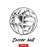 Ręka rysujący nakreślenie piłki nożnej piłka w czerni odizolowywającym na białym tle Szczegółowy rocznik akwaforty stylu rysunek ilustracji