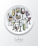 Ręka rysujący nakreślenie set alkoholów koktajle i napoje również zwrócić corel ilustracji wektora Obraz Royalty Free
