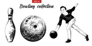 Ręka rysujący nakreślenie set kręgle gracz, szpilka i piłka odizolowywający na białym tle, Szczegółowy rocznik akwaforty rysunek royalty ilustracja