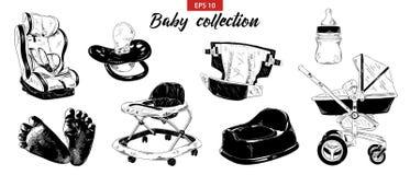 Ręka rysujący nakreślenie set sutek, dziecko fracht, samochodowy siedzenie, potty, foots, piechur odizolowywający na białym tle S royalty ilustracja