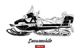 Ręka rysujący nakreślenie snowmobile w czerni odizolowywającym na białym tle Szczegółowy rocznik akwaforty stylu rysunek ilustracja wektor