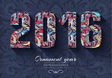 Ręka rysujący nowego roku tła ornamentu ilustraci 2016 pojęcie Wektorowy dekoracyjny retro karty lub zaproszenia projekt Zdjęcie Royalty Free
