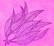 Ręka rysujący obrazek liście na menchiach Zdjęcie Royalty Free
