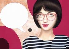 Ręka rysujący obrazek modna modnisia piękna dziewczyna jest ubranym szkła Fotografia Royalty Free