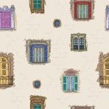 Ręka rysujący okno deseniowy tło Rocznik architektury artystyczna tapeta Ilustracja Wektor