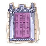Ręka rysujący okno Rocznik architektury artystyczny okno z różowymi żaluzjami Obraz Royalty Free