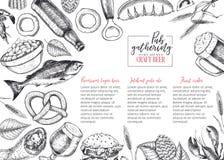 Ręka rysujący Oktoberfest menu karczemny szablon Piwo i przekąski Wektorowy szkło, butelka, otwieracz, ryba, precel, jęczmień, ch Zdjęcie Royalty Free