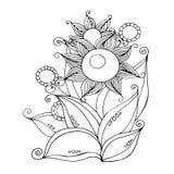 Ręka Rysujący ornament z kwiatami w doodle stylu szczegółowy rysunek kwiecisty pochodzenie wektora Kartka z pozdrowieniami, zapro Ilustracji