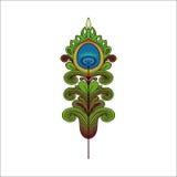 Ręka Rysujący ornament z piórkami Ilustracji