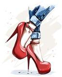 Ręka rysujący piękni czerwień buty z szpilkami Mod akcesoria kuje eleganckie kobiety royalty ilustracja